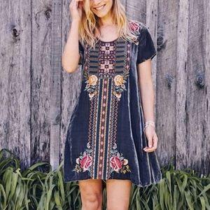 Johnny Was Cherelle Embroidery Velvet Dress S
